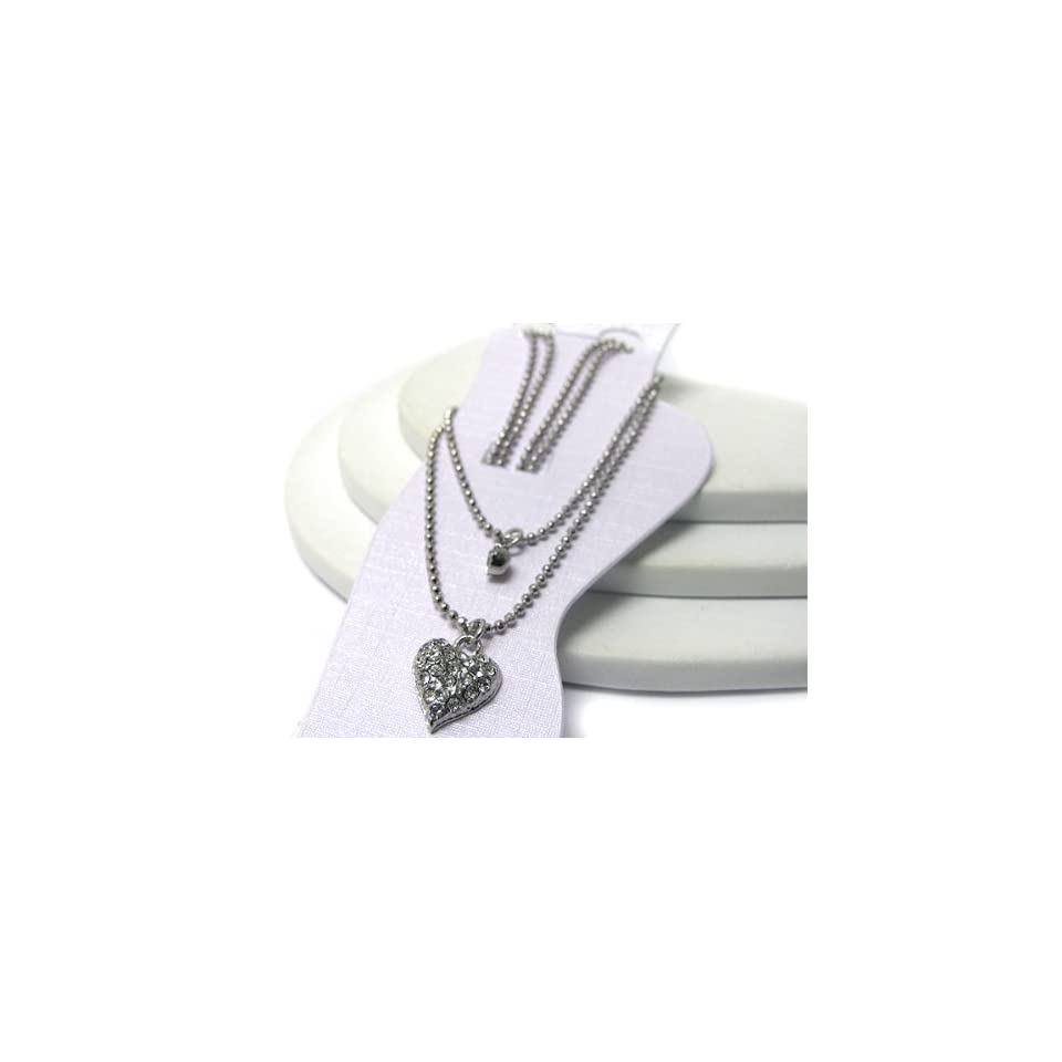 White Gold Plated Anklet ~ Clear Crystal Studded Heart