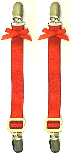 Gorgeous Garters Set of 2 RED Satin Elastic Corset Garter Straps, Metal Clips