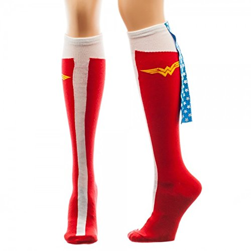 DC Comics Wonder Woman Red White Blue Caped Boot Knee High Costume Socks
