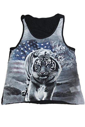 Women's Juniors American Pride USA Flag & White Tiger Power TANK TOP: