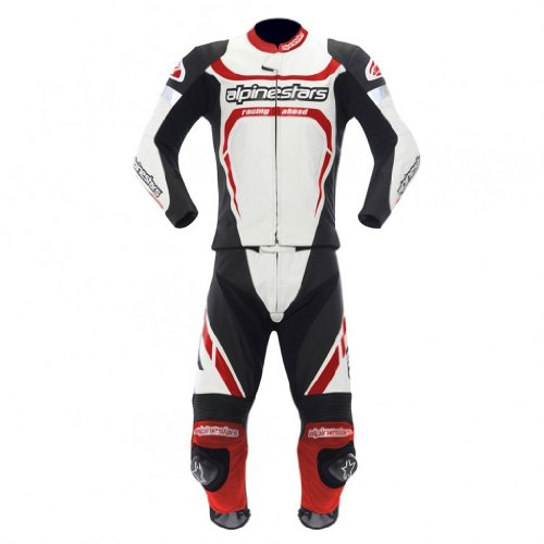 Alpinestars Motegi Two Piece Leather Suit 2013 White Black Red US 42 EU 52
