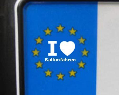 4 Aufkleber - WEI&#223; - I love Ballonfahren - Nummernschild, Spiegel, Handy Sticker