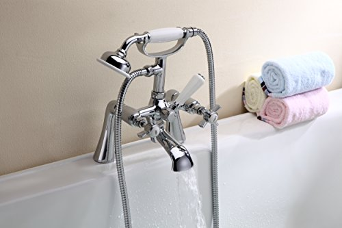 CROSS HEAD TRADITIONAL VICTORIAN LEVER BATH FILLER SHOWER MIXER CHROME TAP HANDHELD ATTACHMENT