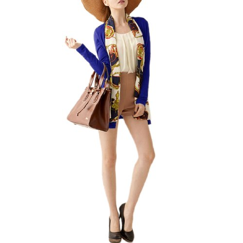 Allegra K Woman Royal Blue Long Sleeve Chiffon Shawl Draped Open Front Coat XS