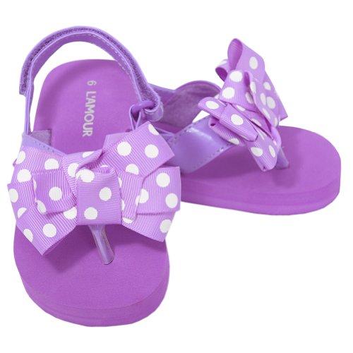 L'Amour Toddler Girls 7 Purple Polka Dot Bow Wedge Flip Flops Sandals