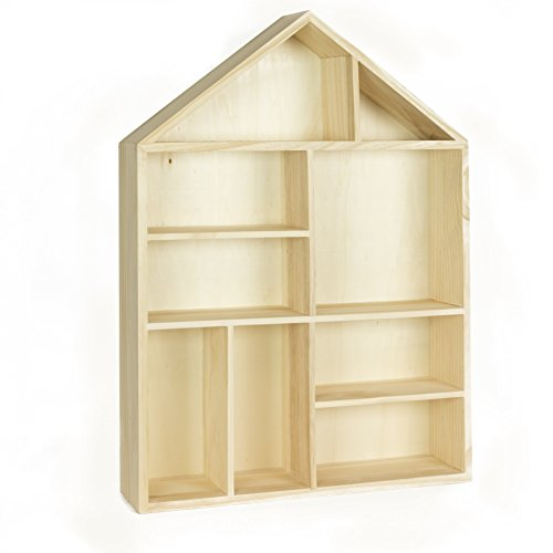 Napoli Wall Mount or Free Standing House Shape Wooden Shadow Cubby Box Storage Knick Knack Shelf , 9 Compartments Arts Collectibles Curio Display Dollhouse , Natural Unfinished Wood