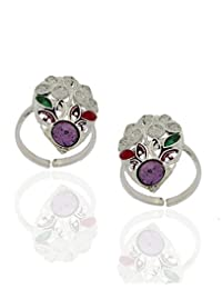Anuradha Art Purple Stone Silver Toe Rings For Women