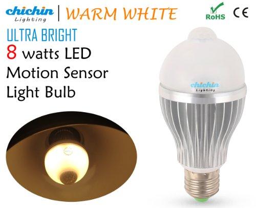 Chichinlighting® Super Bright 8 Watts Warm White Motion Sensor Led Light Pir Led Bulb Led Motion Light E26/E27 Base Built-In