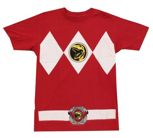 Mighty Morphin Power Rangers Costume Men's T-shirt (XXL, Red)