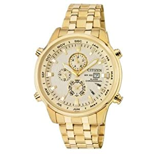 Champagne Dial Citizen Men's Gold Tone Chronograph Bracelet Watch
