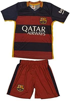 "2015/2016 Barcelona Home Red Blue Kids Soccer Jersey & Short #11 NEYMAR Jr. Youth Sizes (M ""140"" (Ages 6-7))"