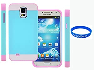3D Prime strass scintillants TUFF Silicone Etui Coque Case Protection dur Housse de pour Samsung Galaxy S5 i9600 Bleu Rose