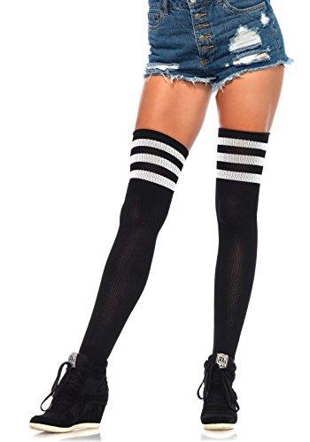 Leg Avenue Women's Athletic Ribbed Thigh-High Hosiery, Black/White, One Size