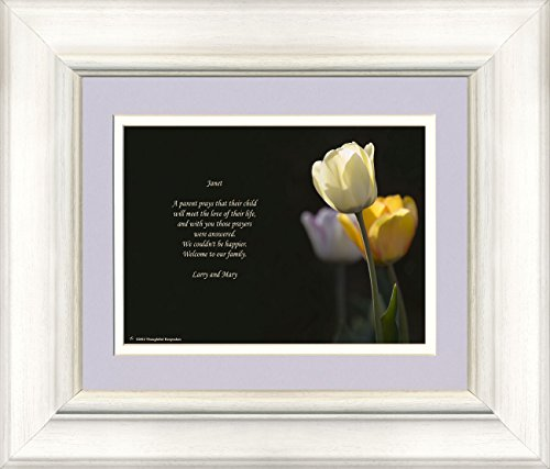 Framed Personalized Daughter in Law Gift with Welcome to the Family Poem. White Tulip Photo, 8x10 Double Matted. Great Wedding Gift.