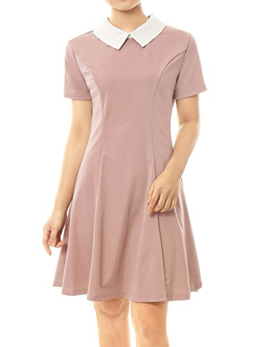 Allegra K Women Contrast Doll Collar Short Sleeves Flare Dress Pink M