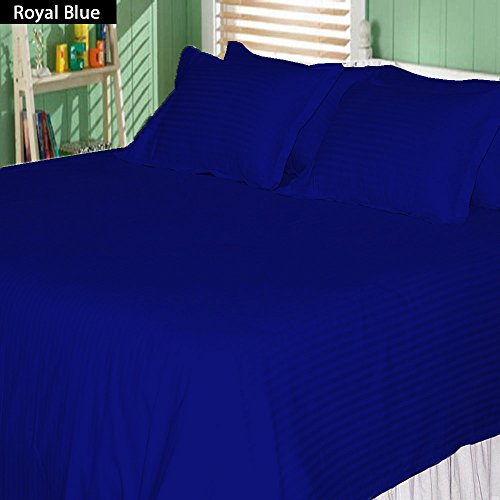 Sale! Striped Egyptian Blue 400 Thread Count 100% Egyptian Cotton 4-Piece Bed Sheet Set With 10'' Deep Pocket, Olympic Queen Size front-1054289