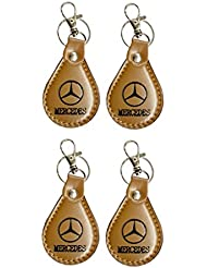 PARRK Mercedes Full Leather Locking Keychain Pack Of 4