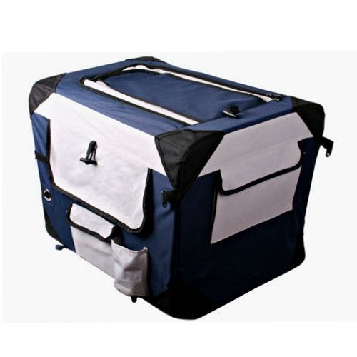 [Golden Tulip®]Hunde Transportbox 7 Größen Hundebox Katzenbox Blau Kennel faltbar 0012000M