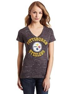 NFL Women's Pittsburgh Steelers Pride Playing II Short Sleeve Deep V-Neck Haze Tee from Majestic