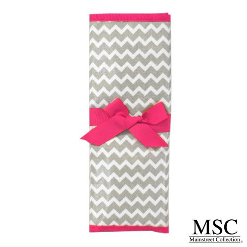 Mainstreet Collection Grey and Pink Chevron Reversible Coated Canvas Chalkboard Travel Mat