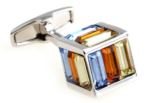 Amazing Square Colorful Crystal Cufflink Luxury Cuff link
