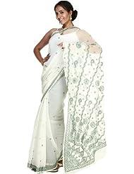 Exotic India Chic-White Sari With Lukhnavi Chikan Embroidered Flowers - White