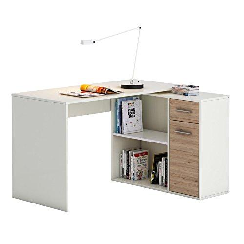Eckschreibtisch-Schreibtisch-Computertisch-LENA-in-Sonoma-Eichewei-Kinderschreibtisch-120x75x915-cm