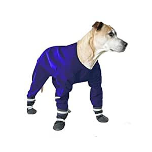 Muttluks Four Legged Dog Jog Rainsuit, Size 14, Blue