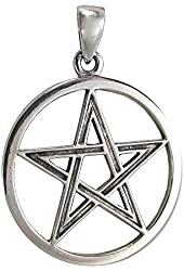 Sterling Silver Pentacle Pendant Wiccan Pagan Jewelry for men women