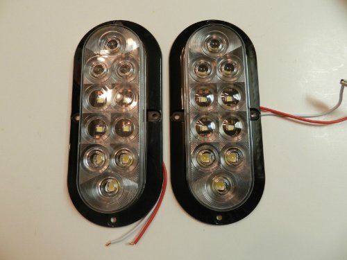 """1 Pair Trailer Clear / White Led Stop Turn Tail Light 6"""" Oval Surface Mount Optronics"""