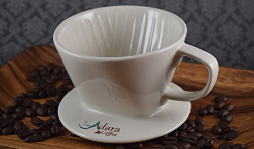 Adara Coffee Extra Wide Base Pour Over Ceramic Coffee Dripper, White
