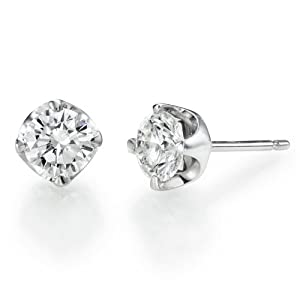 1/2 ct, I Color, SI1 Clarity, GIA Certified, Round Cut, Diamond Earrings in 18K Gold / White