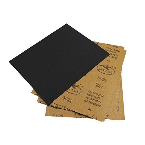 Confezione da 10fogli abrasivi 22,9x 27,9cm Inch (230x 280mm), in carburo di silicio, grana 500, Wet/Dry