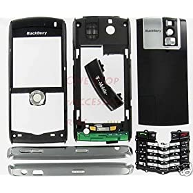 OEM Original Black T-Mobile RIM BlackBerry Pearl 8100 Full Complete Housing Case Cover Faceplate with Lens Plastic Screen Keypad Side Buttons TrackBall