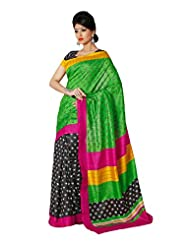 Fabdeal Indian Designer Cotton Silk Green Printed Saree - B00M1QSY3G