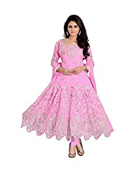 Ustaad Georgette Embroidered Semi-stitched Anarkali Dress Material -Pink