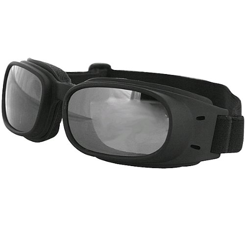 Bobster Piston Adult Harley Motorcycle Goggles Eyewear - Black/Smoke Reflective / One Size Fits All