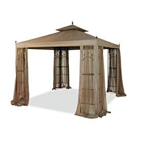 10' x 10' Replacement Gazebo Canopy Beige Top Cover Patio Outdoor