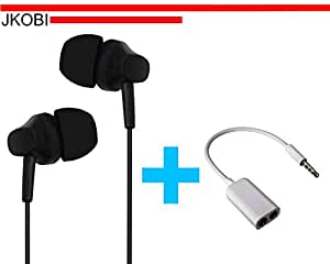 Value Combo Of Latest Designed In Ear Bud Earphones Handsfree and Splitter Cable Compatible For Xiaomi Redmi 3 -Black