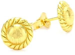 "gorjana ""Rope"" Gold-Plated Circle Studs"