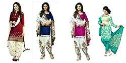 Sky Global Women's Printed Unstitched Regular Wear Salwar Suit Dress Material (Combo pack of 4)(SKY_Combo_352)(SKY_518_Blue)(SKY_501_Maroon)(SKY_525_Rama)(SKY_521_Pink)