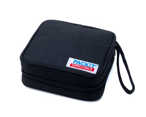 PackIt Freezable Sandwich Cooler Bag with Zip Closure, Black - 1