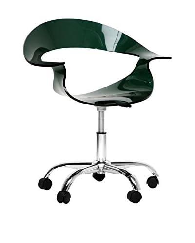 Baxton Studio Elia Acrylic Modern Swivel Chair, Steel/Deep Green