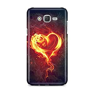 Motivatebox - Samsung Galaxy J2 2016 edition Back Cover - Fire Heart Polycarbonate 3D Hard case protective back cover. Premium Quality designer Printed 3D Matte finish hard case back cover.