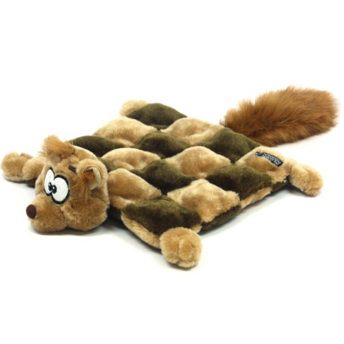 Kyjen Plush Puppies Dog Squeaker Mat Toy, Squirrel,  Large