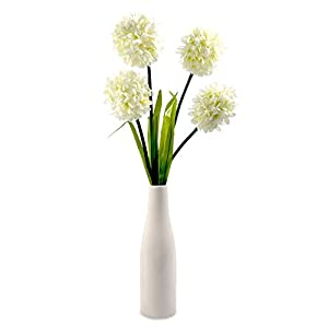 Modern Battery Operated Ceramic Vase Table Lamp Light With Artificial Decorative LED Flowers by MiniSun