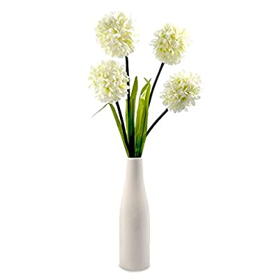 Modern Battery Operated Ceramic Vase Table Lamp Light With Artificial Decorative LED Flowers