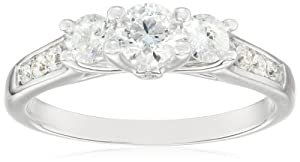 14k White Gold 1cttw White Diamond 3-Stone Engagement Ring, Size 7 by The Aaron Group
