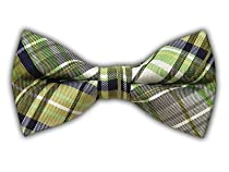 100% Silk Woven Green Trinity Plaid Self-Tie Bow Tie