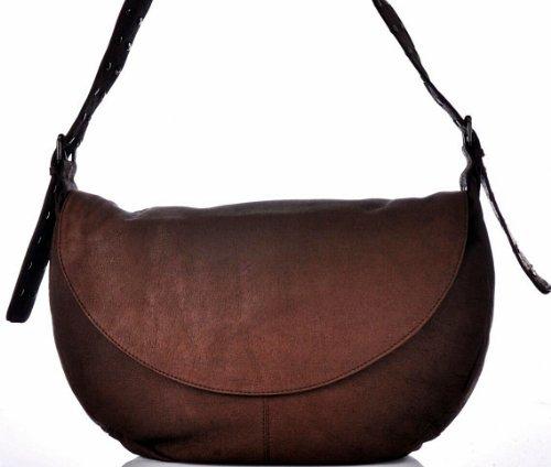 CONTEMPO Cntmp XXL-Cross-Bag Echt Leder Tasche Schultertasche Braun